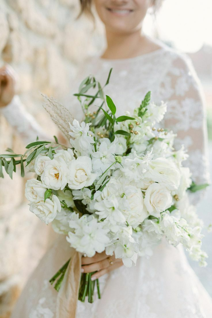 White bouquet with olive branches