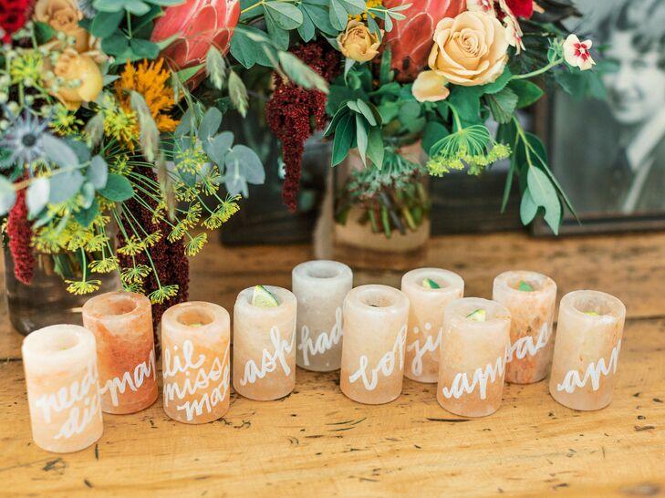 Pink Himalayan Salt Shot Glasses as Place Cards