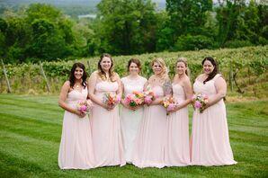 Petal Pink Bill Levkoff Bridesmaid Dresses