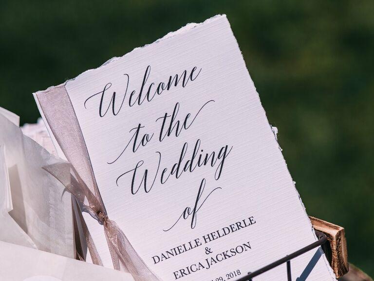 Wedding Ceremony Programs displayed in basket outside