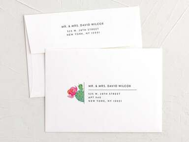 Typewriter font with mini cactus graphic next to address