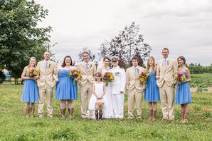 Tan and Blue Wedding Party