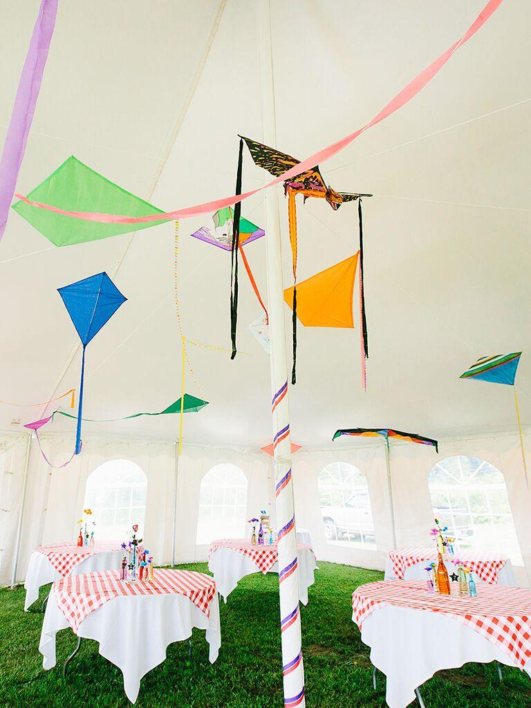 DIY suspended kite wedding reception decor