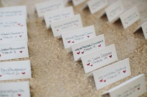 Escort Cards with Heart Detail