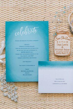 Blue Wedding Invitation and Mason Jar Save-the-Date