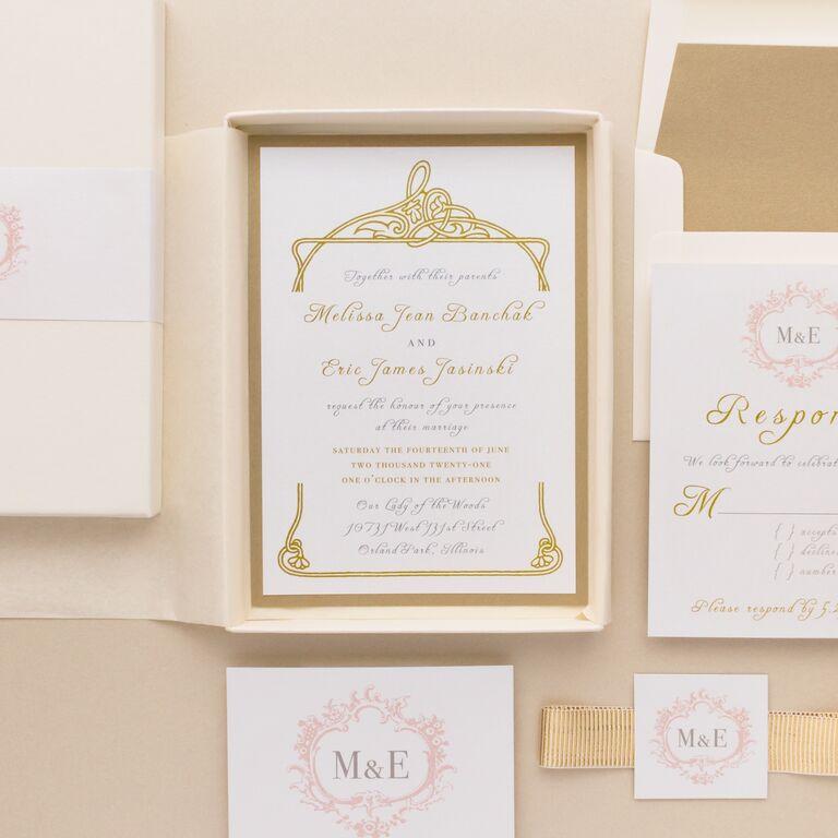 Gold gilded border around event details in gold script in cream box