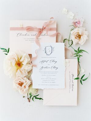 Romantic Invitations for Wedding at Vibiana in Los Angeles