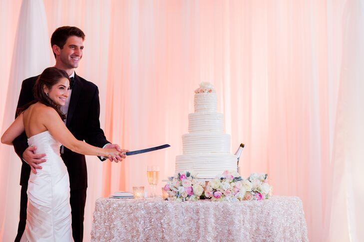 Elegant Four Tiered Buttercream Wedding Cake