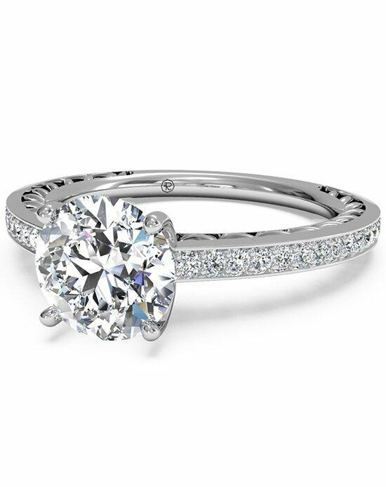 Ritani Round Cut Lattice Micropave Diamond Band Engagement Ring in 18kt White Gold (0.11 CTW) Engagement Ring photo