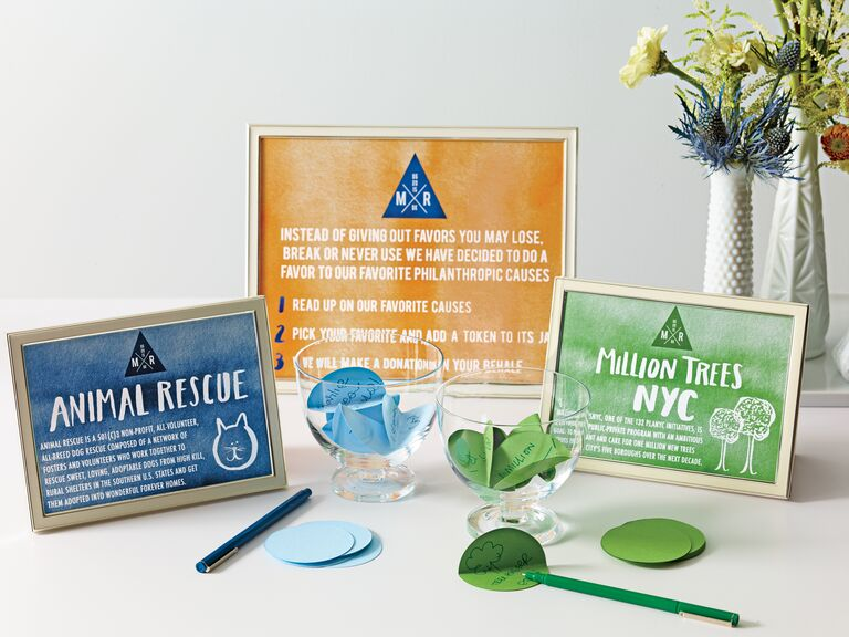 Charity Wedding Favor With Watercolor Blue Orange Green Signs