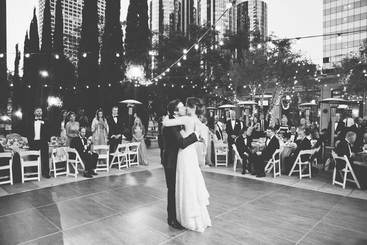 """""""The sunset lasted nearly two hours that night, and the sky was purple, with the city lights peeking through just as we were dancing,"""" Shannon says. """"It became a magical moment of the day."""""""
