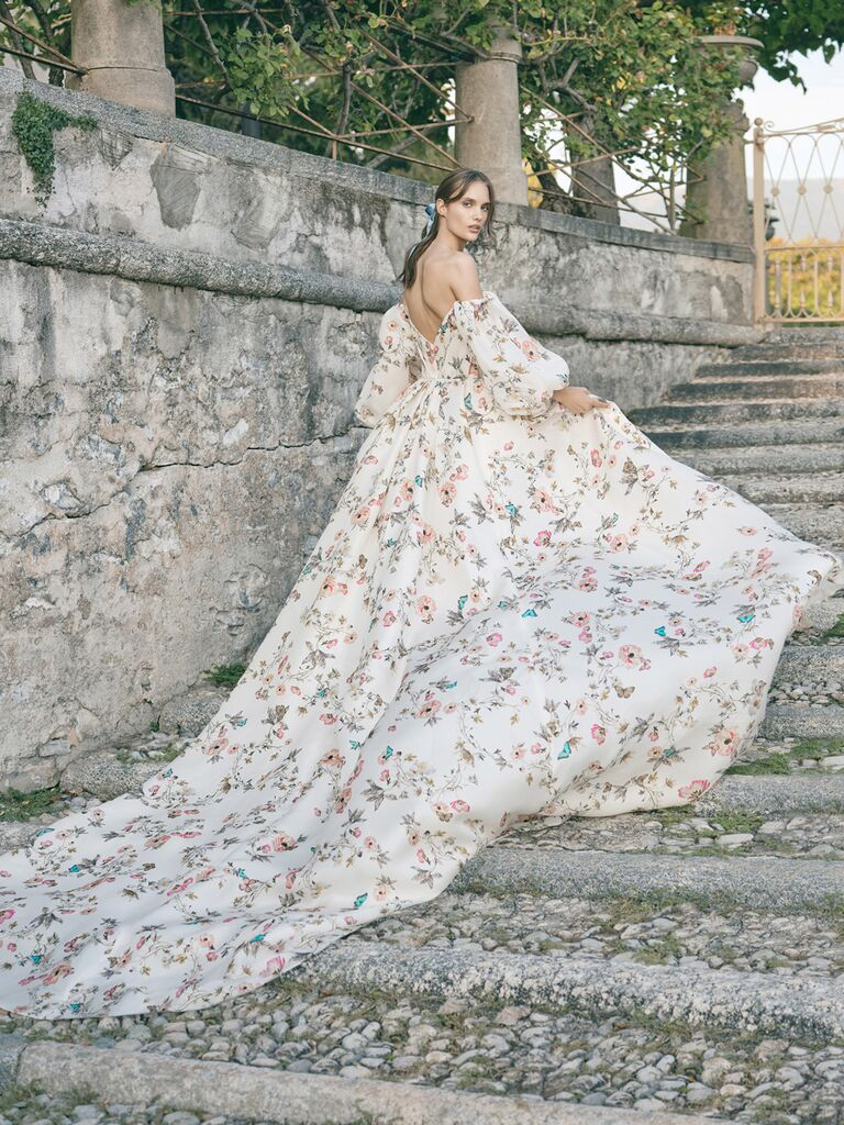 monique lhuillier floral ballgown with flower print