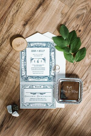Casual Blue and White Wedding Invitations