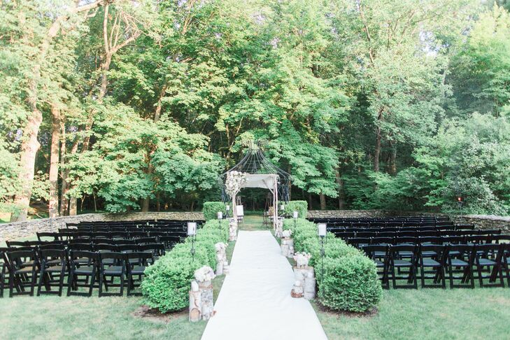Guests watched from black folding chairs as Tara and Jesse exchanged vows in a ceremony that incorporated Baha'i and Jewish traditions.