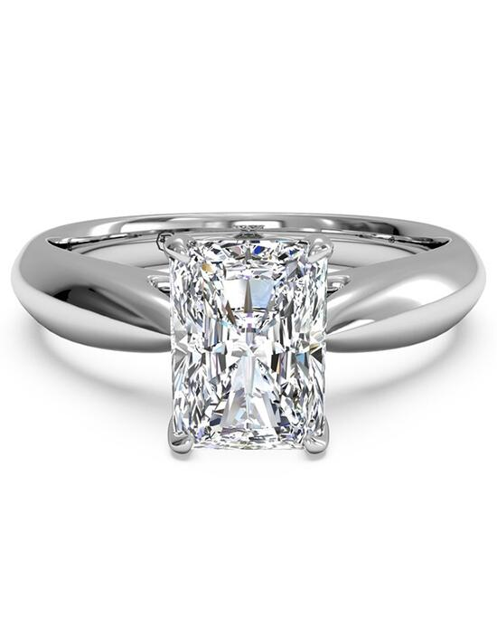 Ritani Solitaire Diamond Cathedral Tapered Engagement Ring - in 14kt White Gold for a Radiant Center Stone Engagement Ring photo