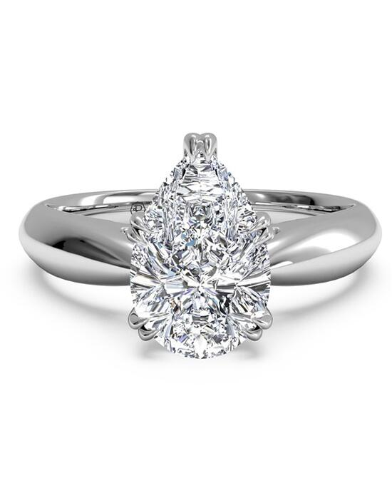 Ritani Solitaire Diamond Tulip Cathedral Engagement Ring - in 14kt White Gold for a Pear Center Stone Engagement Ring photo