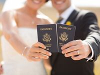 Couples with passports for honeymoon