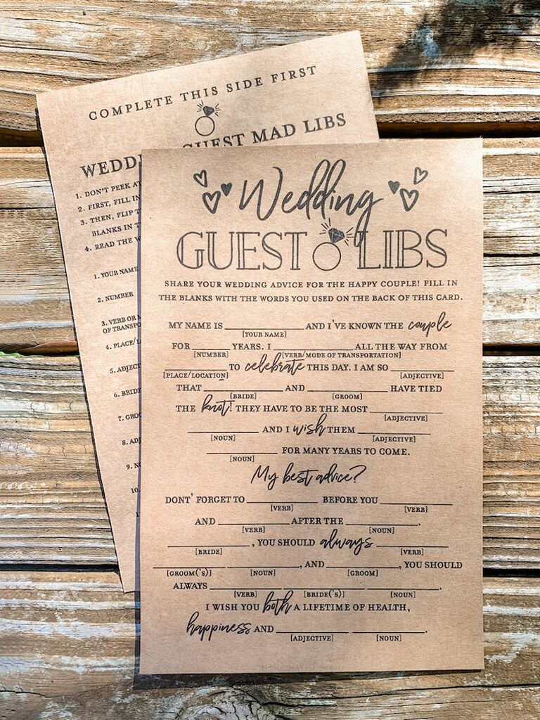 etsy wedding guest mad libs digital download for wedding guest book idea