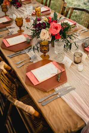Bohemian Place Settings with Geometric Dinnerware, Rustic Centerpieces, Menus, Vintage Glassware and Table Runner