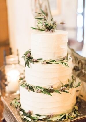 Ivory Cake Rimmed With Leaves