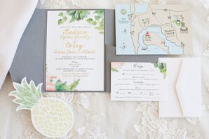 Floral and Map-Inspired Invitation Suite