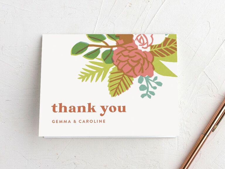 Vintage floral wedding shower thank-you card