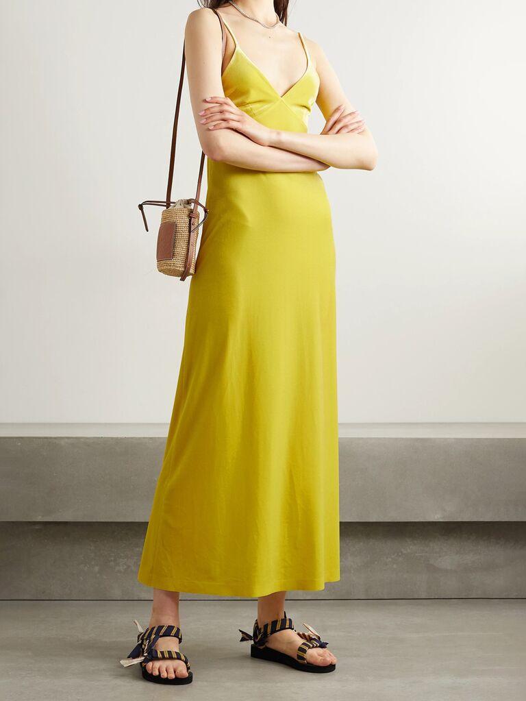 net a porter yellow long slip dress with spaghetti straps and v neckline