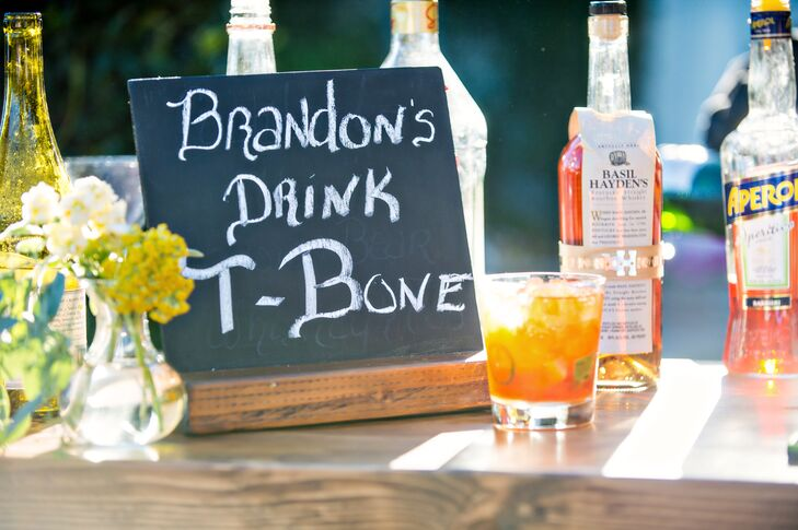 """Two signature cocktails were served in addition to the full bar. The groom's cocktail was called """"Brandon's """"T-Bone,"""" a mix of whiskey and spicy jalapeno."""