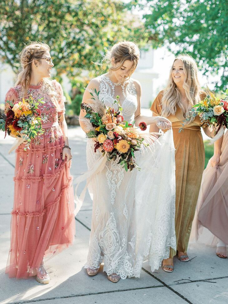 Wedding Party in Colorful Dresses for Michigan Wedding