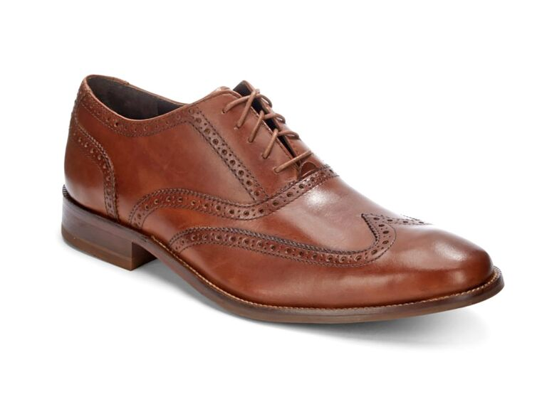 Cole Haan Williams Leather Wingtip Brogues blue suit brown shoes
