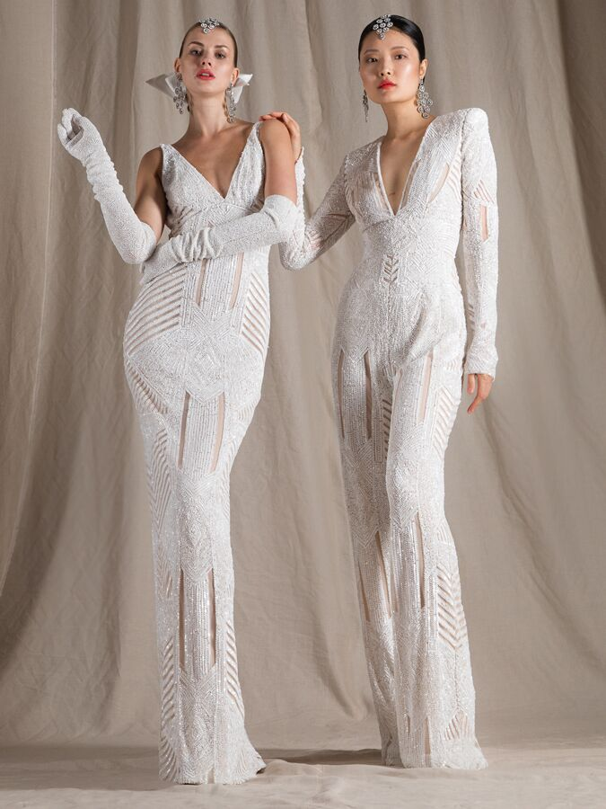 Naeem Khan geometric beaded wedding dress and jumpsuit