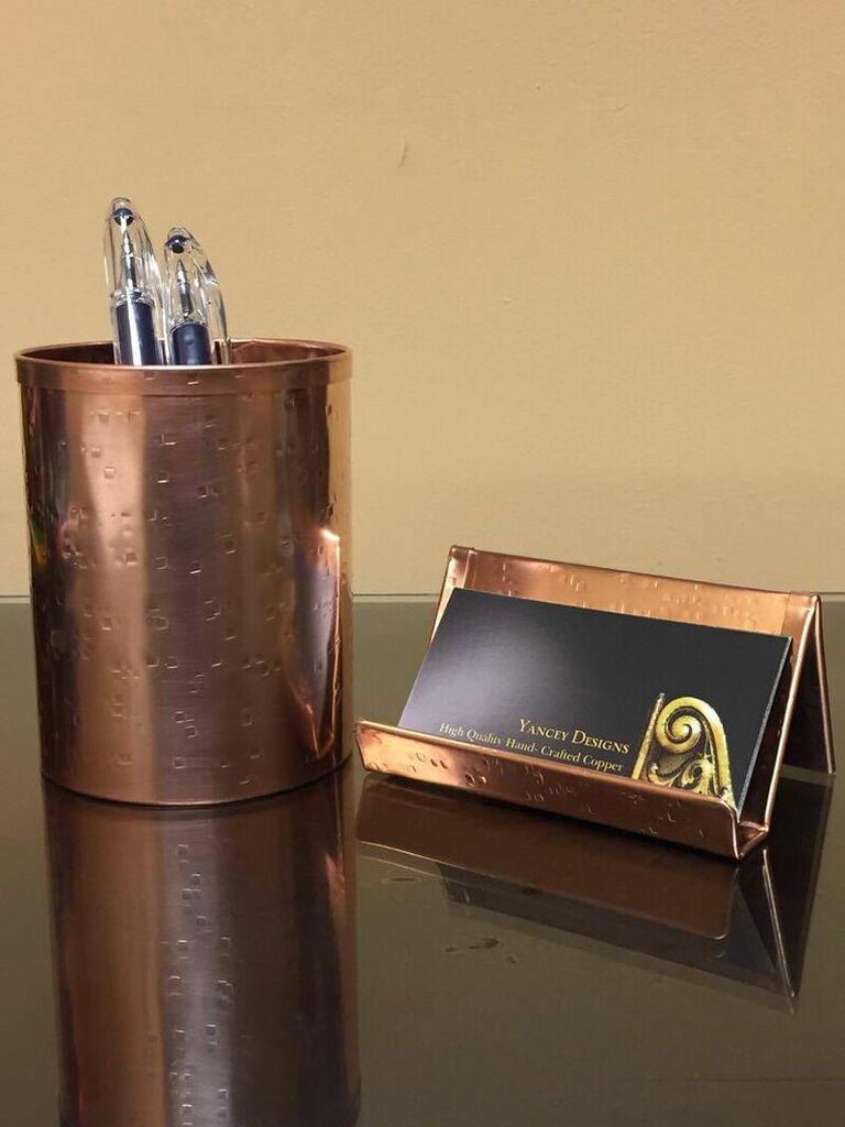 Copper 7 year anniversary modern gift desk set