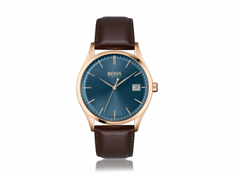 BOSS brown leather gold watch