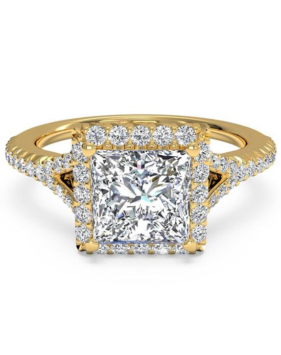 Ritani French-Set Halo Diamond 'V' Band Engagement Ring - in 18kt Yellow Gold (0.23 CTW) for a Princess Center Stone Engagement Ring photo