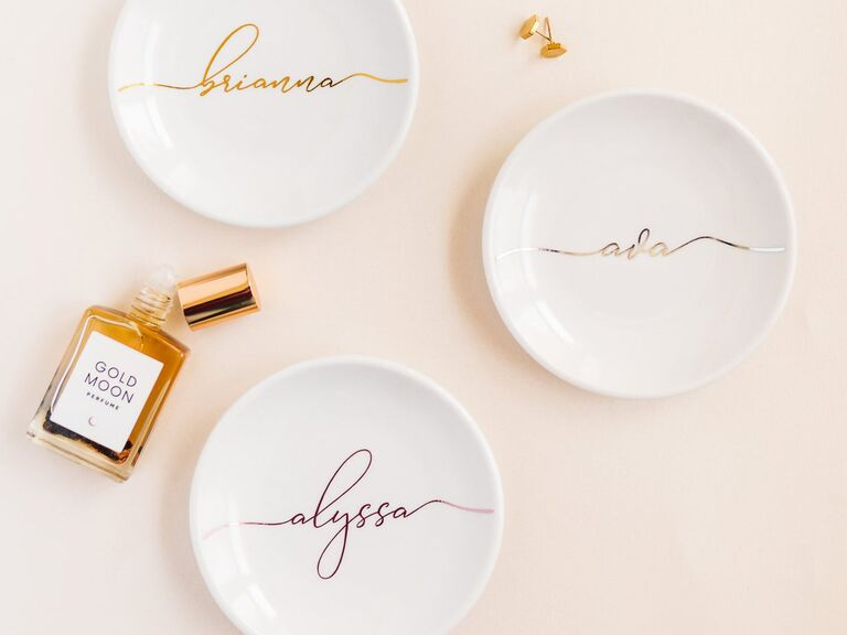 Personalized ring dishes affordable bridesmaid gifts
