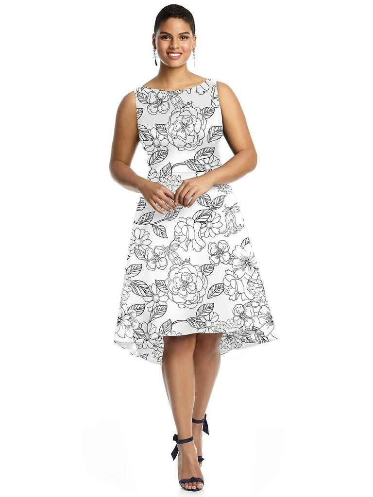 Black and white short floral bridesmaid dress