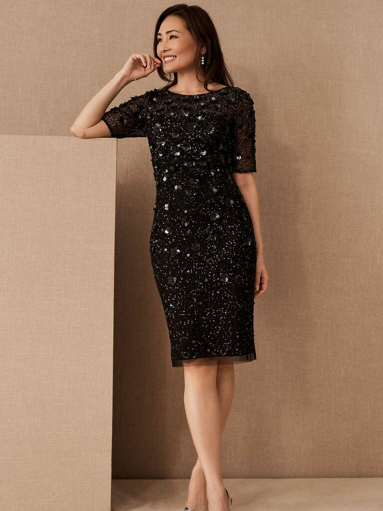 Formal black beaded and embellished midi fall wedding guest dress