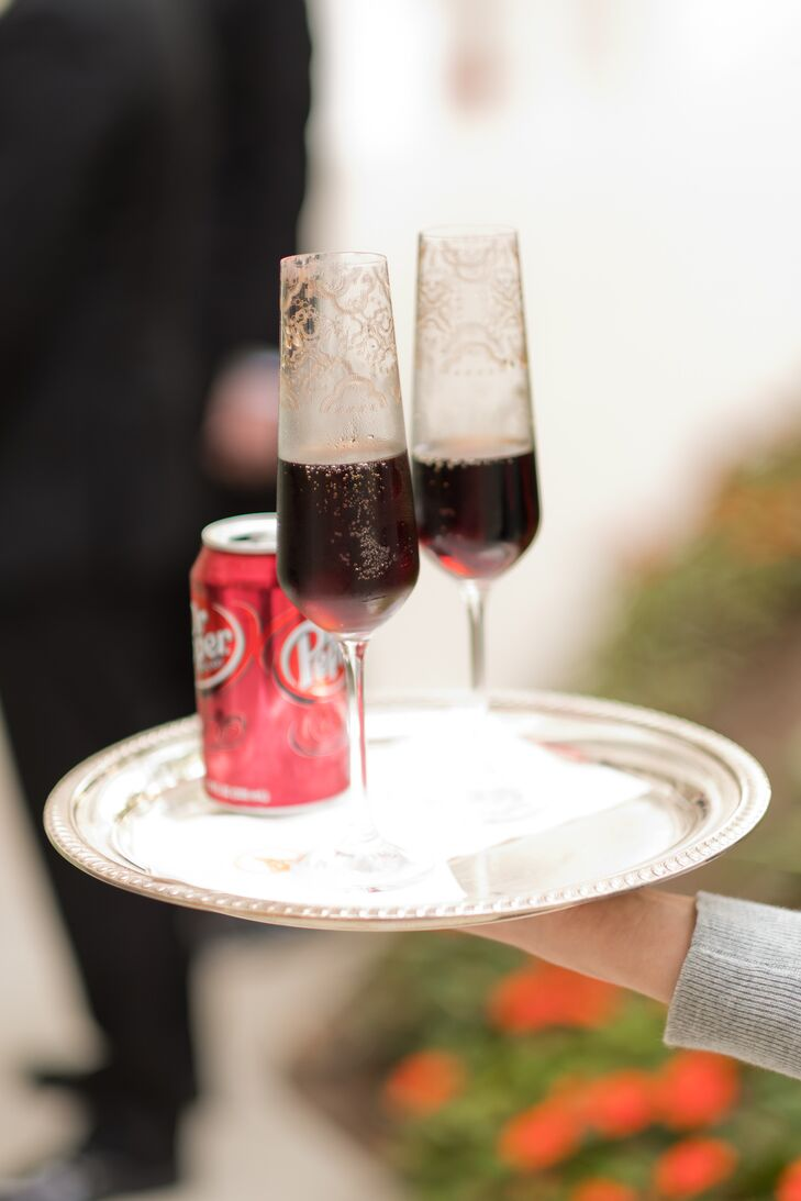 Dr. Pepper Toast in Decorative Gold Champagne Flutes