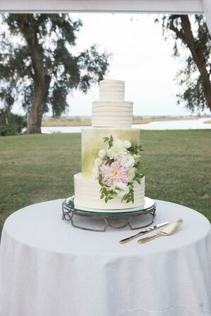 Painted Green Garden-Inspired Wedding Cake