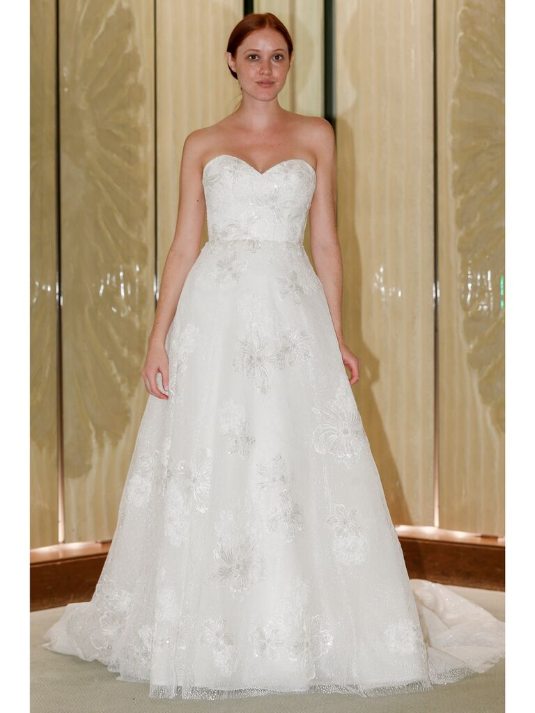 Randy Fenoli Fall 2019 Bridal Collection floral embroidered A-line wedding dress with strapless sweetheart neckline
