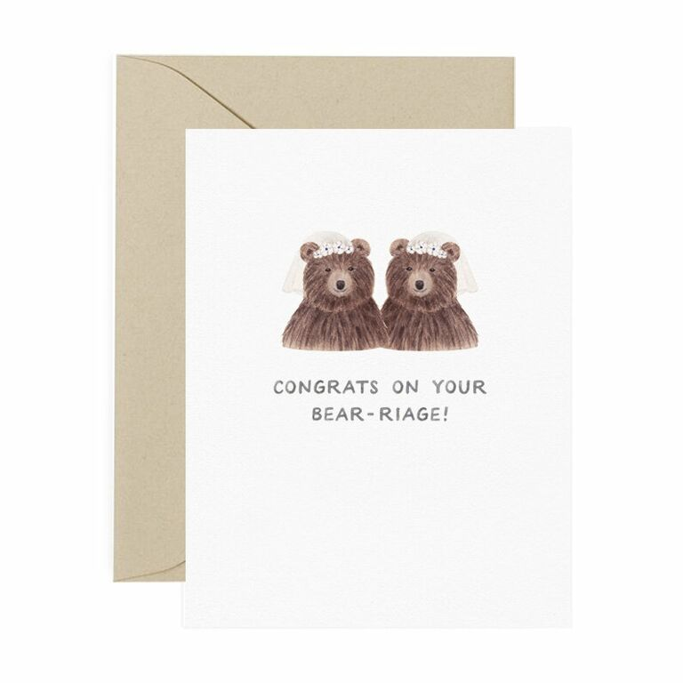 'Congrats on your bear-ridge' in simple watercolor type with 2 bride bears