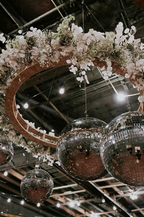 Hanging Circular Decoration with Pink Flowers and Disco Ball