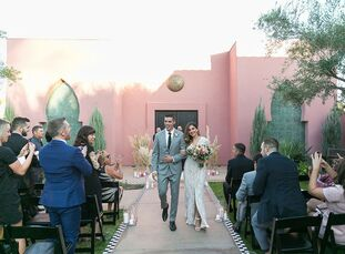 """After Andrea Burns and Adam Farino got engaged, they didn't want to wait to say """"I do,"""" so they planned their wedding in two months. They chose a sma"""