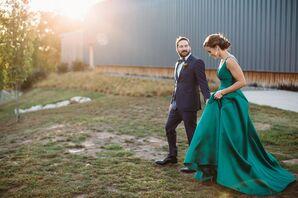 Wedding Portraits with Bride in Emerald Dress