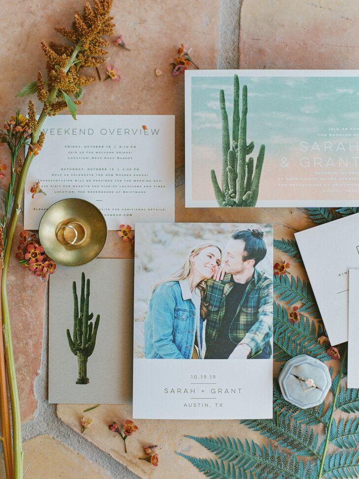 Texas Wedding Invitation with Cacti Illustrations