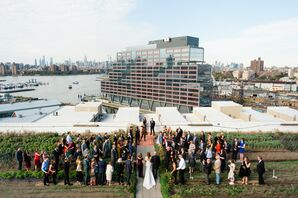 Ceremony Processional at Rooftop Garden Wedding in Brooklyn