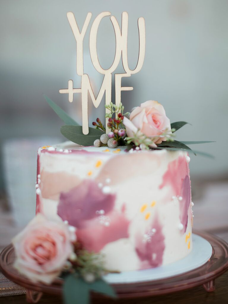 """One-tier bridal shower cake with """"You+Me"""" cake topper"""