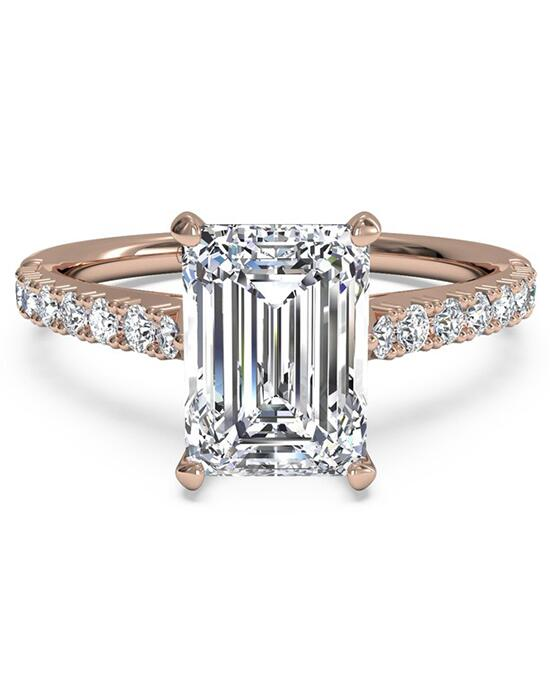 Ritani French-Set Diamond Band Engagement Ring - in 18kt Rose Gold (0.23 CTW) for a Emerald Center Stone Engagement Ring photo