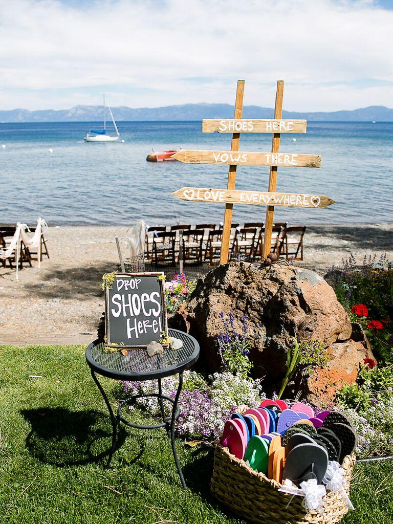 Beach wedding shoe drop off zone