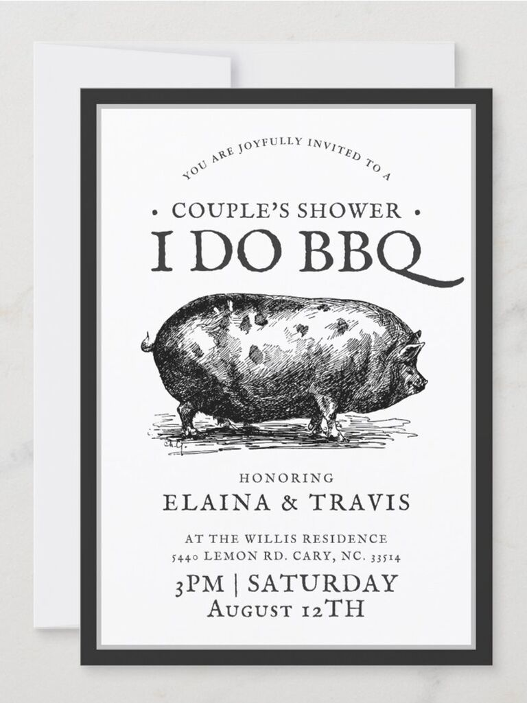 'I do BBQ' in black type with pig graphic above event details on white background